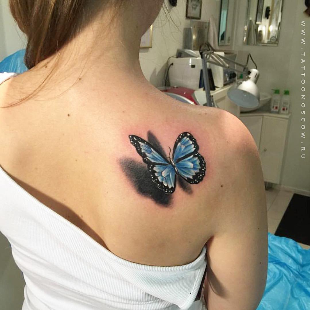 Тату бабочки на спине для девушек фото