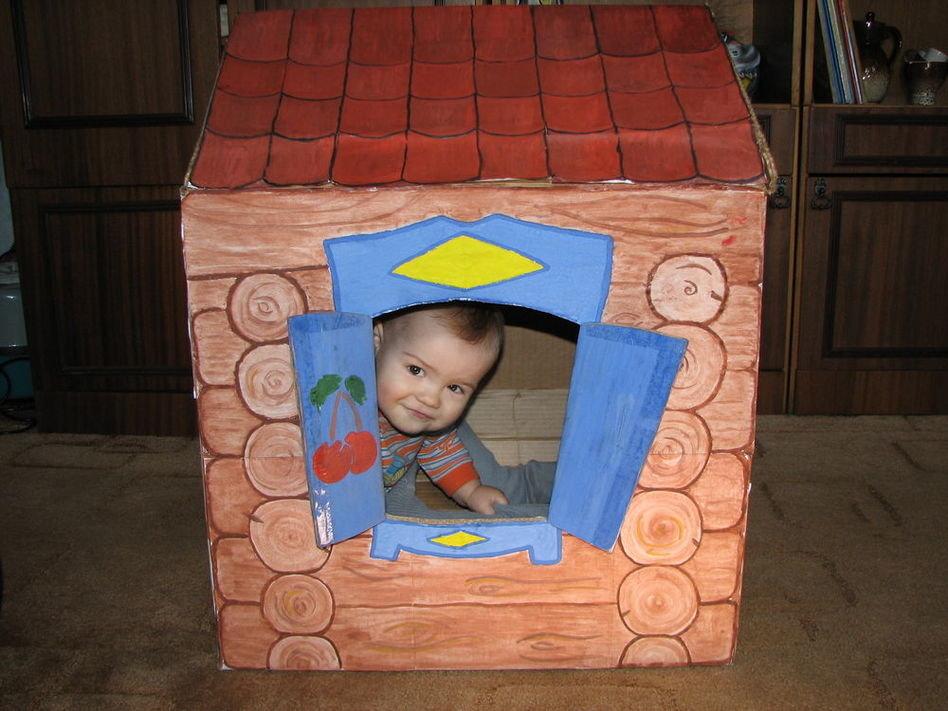 Детские домики из картонных коробок своими руками 77