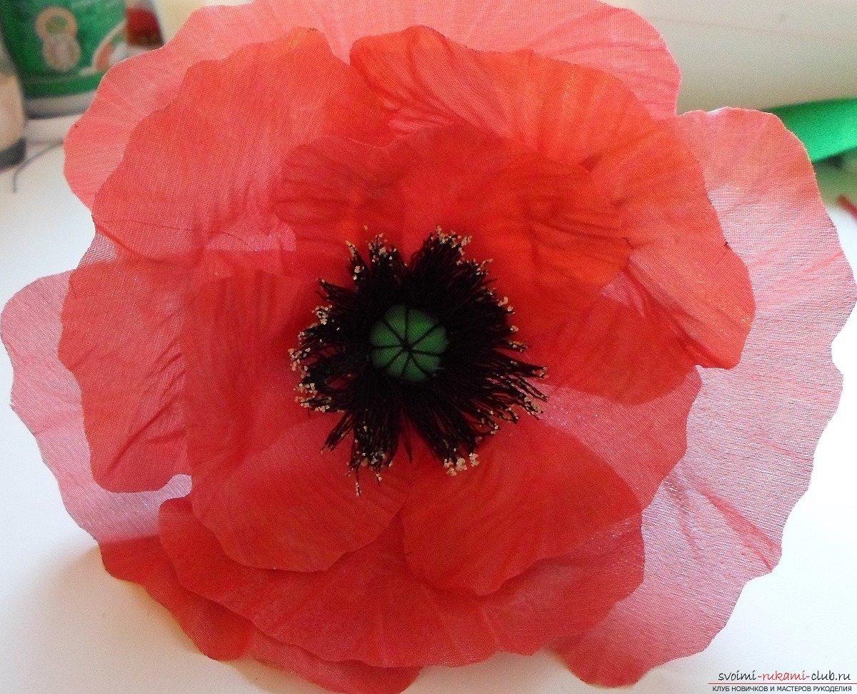Как сделать цветок из шифона пошаговое