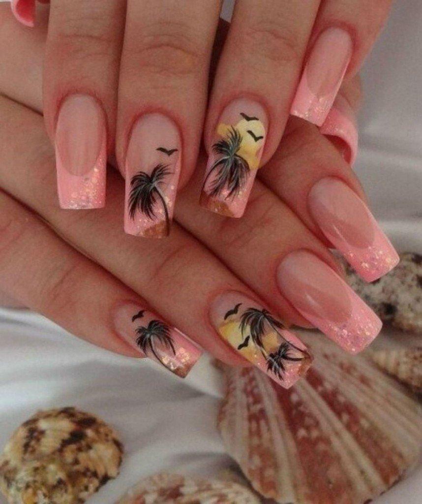 Летний дизайн ногтей, яркий летний маникюр с цветами 37