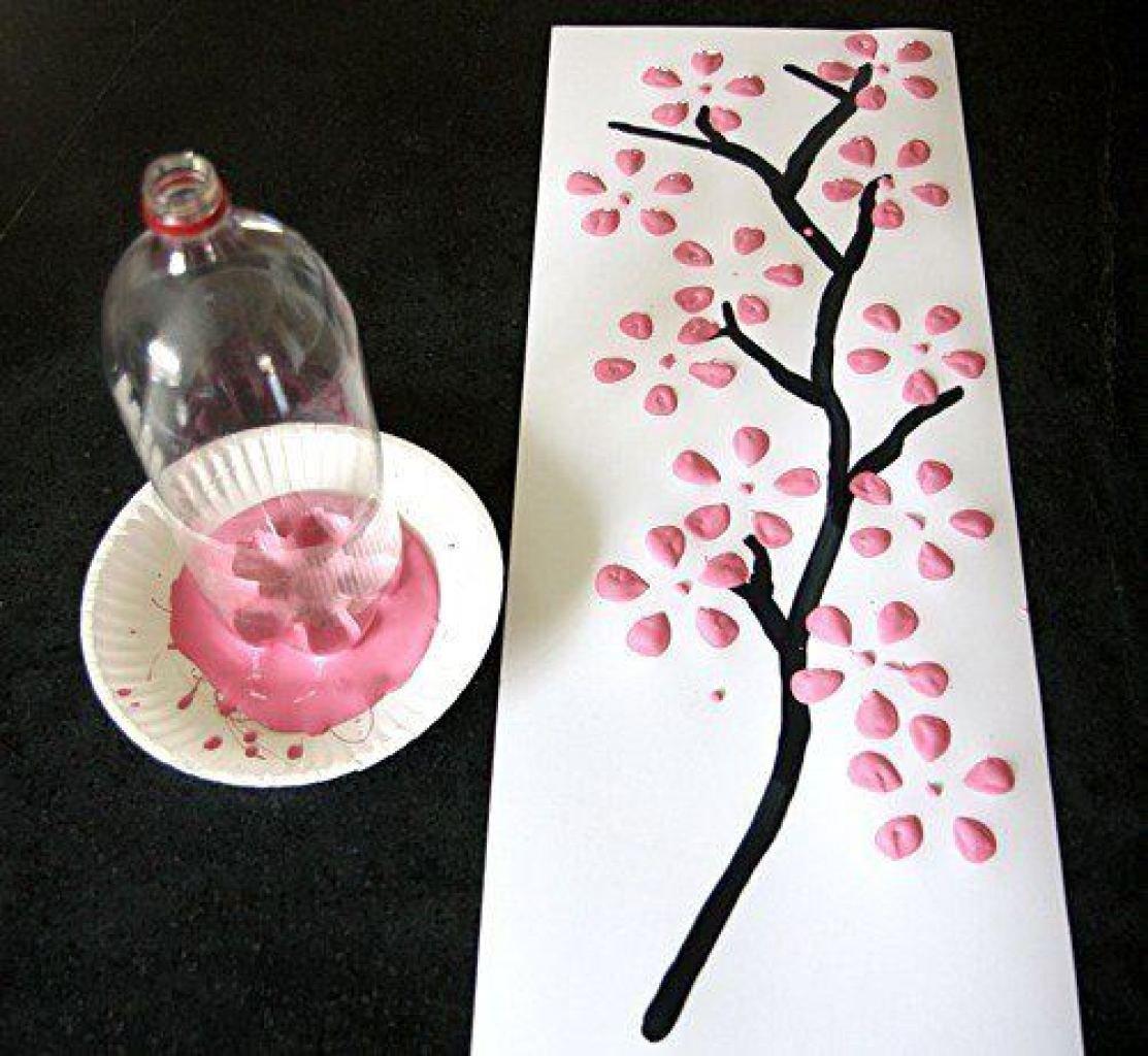 Как сделать дерево сакура из пластиковых бутылок