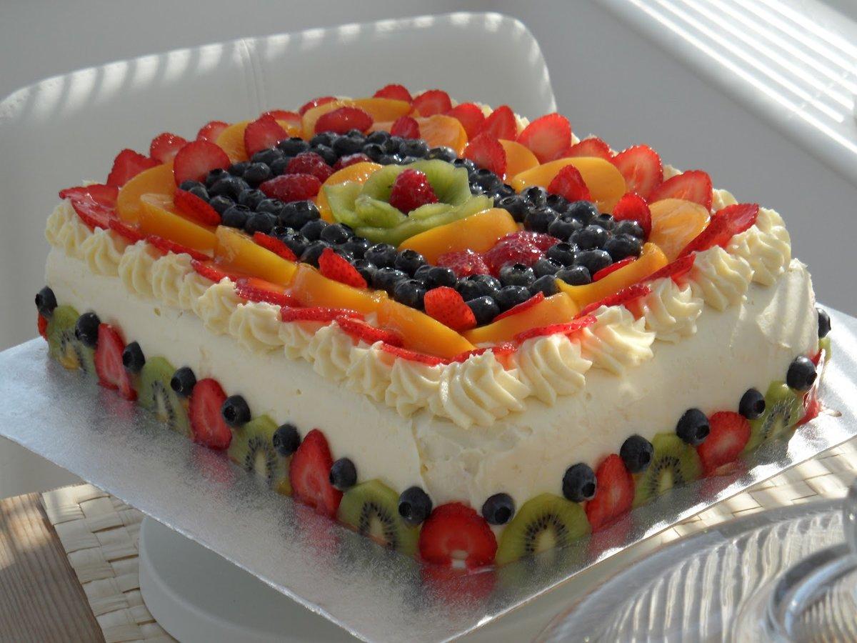 Украшения торта фруктами фото