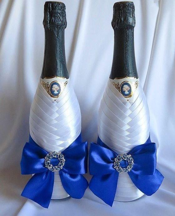 Как сделать свадебные бутылки лентами 122