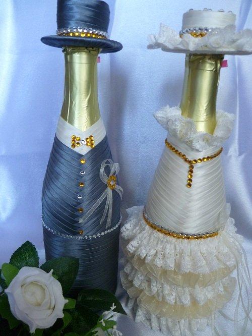 Как сделать свадебные бутылки лентами 817