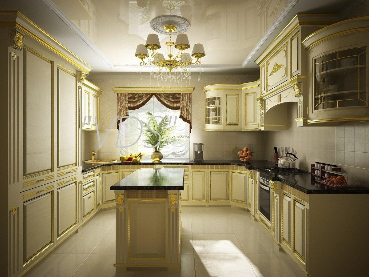 Дизайн кухни классика в доме и