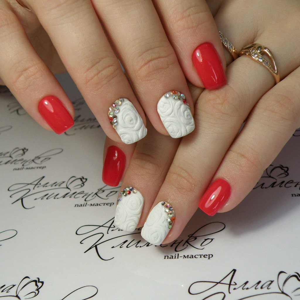 Красный маникюр со стразами : 106 фото дизайна ярких ногтей nails-health 420