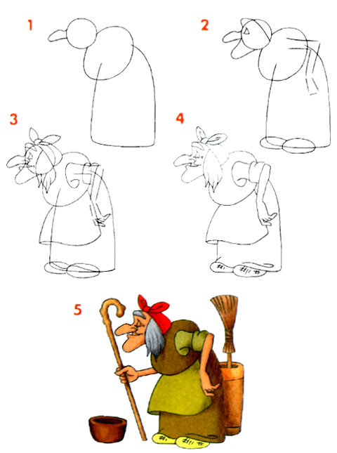 Как нарисовать бабу ягу своими руками 96