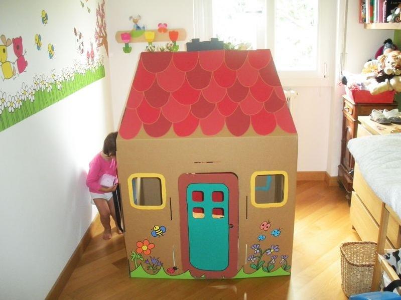 Детские домики из картонных коробок своими руками 86