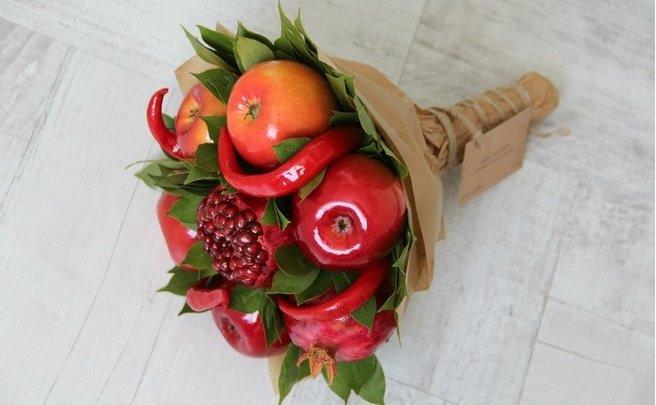 Как сделать букет из фруктов и овощей своими руками 123
