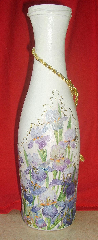 Декупаж из бутылки сделать вазу своими руками 69