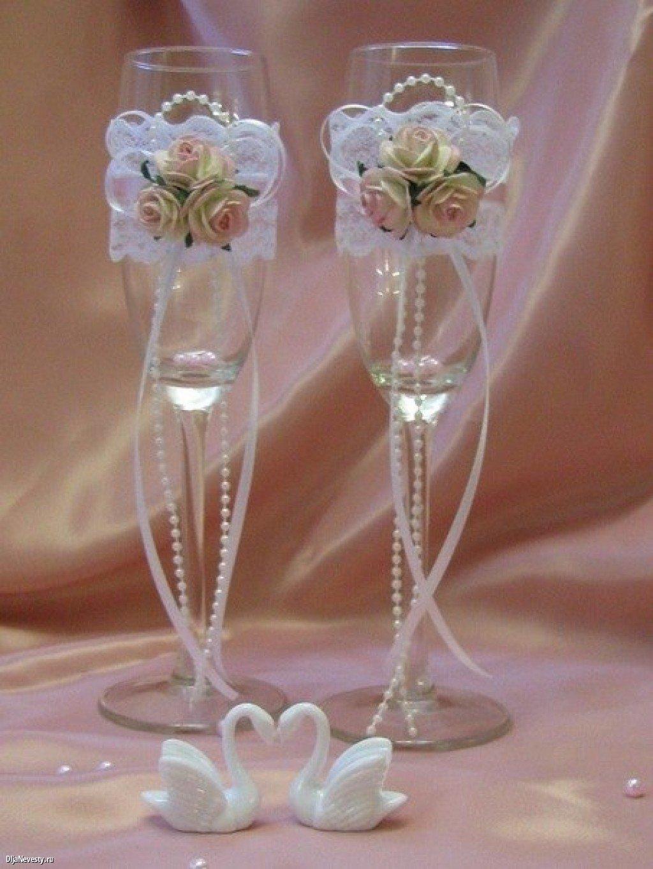 Украшение бокалов кружевом на свадьбу своими руками 81