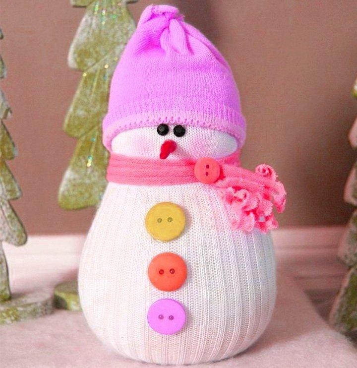 Снеговик из своими руками из носков 89