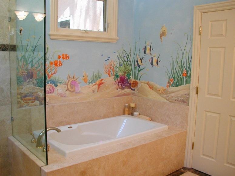 Рисунок на стенах в ванной своими руками 651