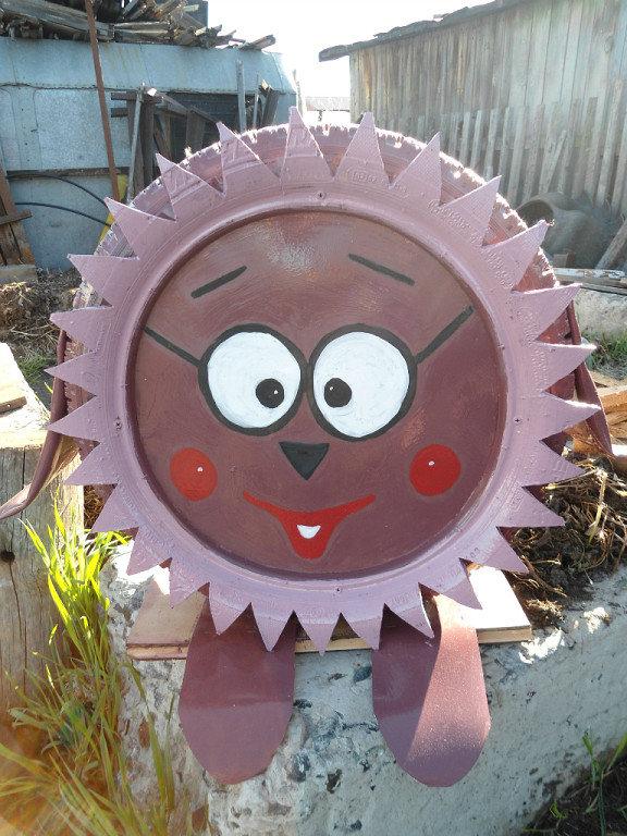 Поделки из шин смешарики для детской площадки
