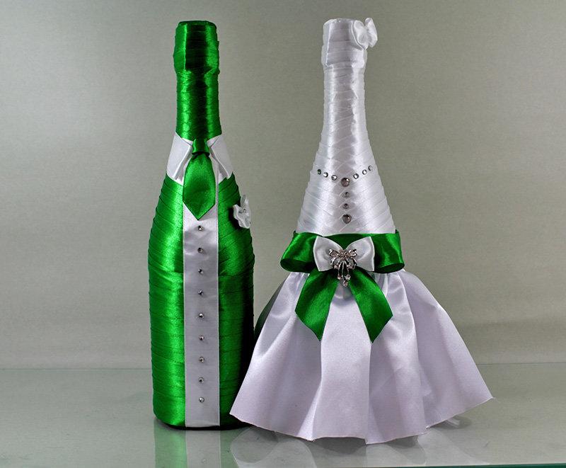 Шампанское для свадьбы из атласных лент