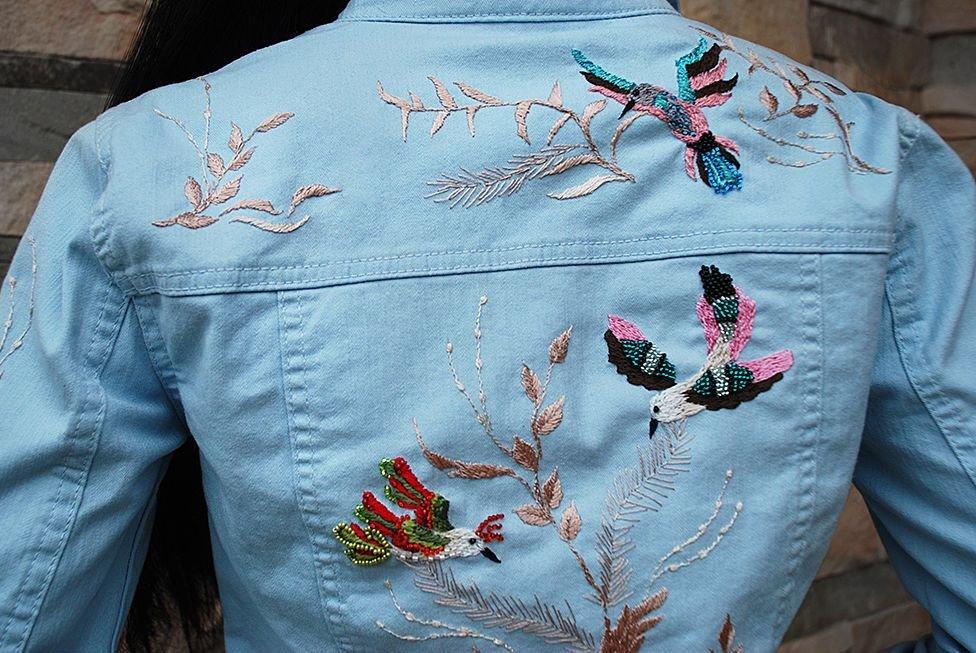 Вышивка бисером джинсовых курток