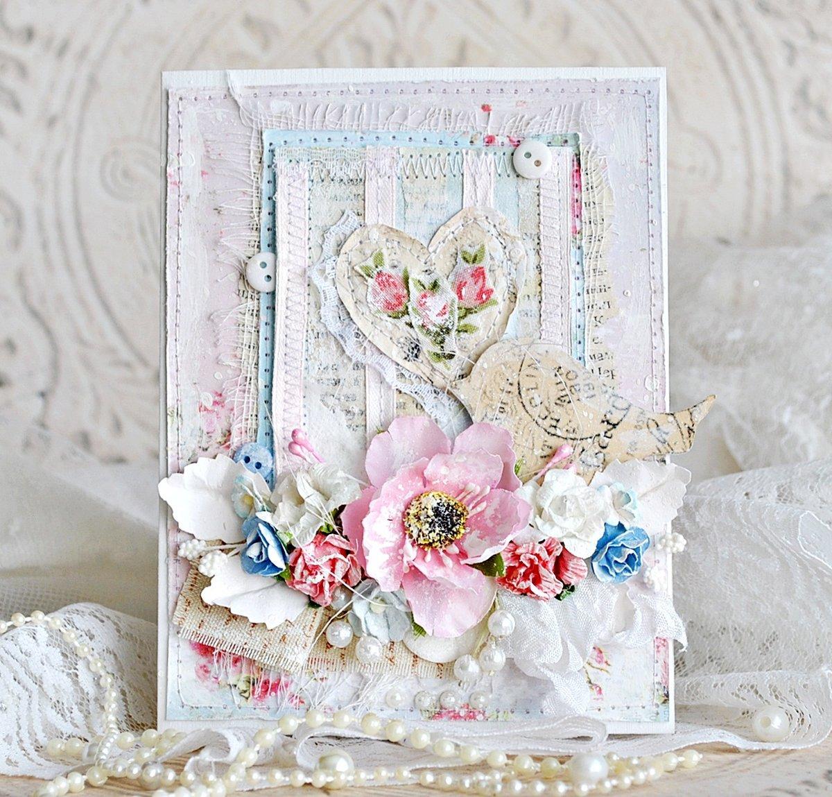 Свадебная открытка своими руками в стиле шебби-шик 18