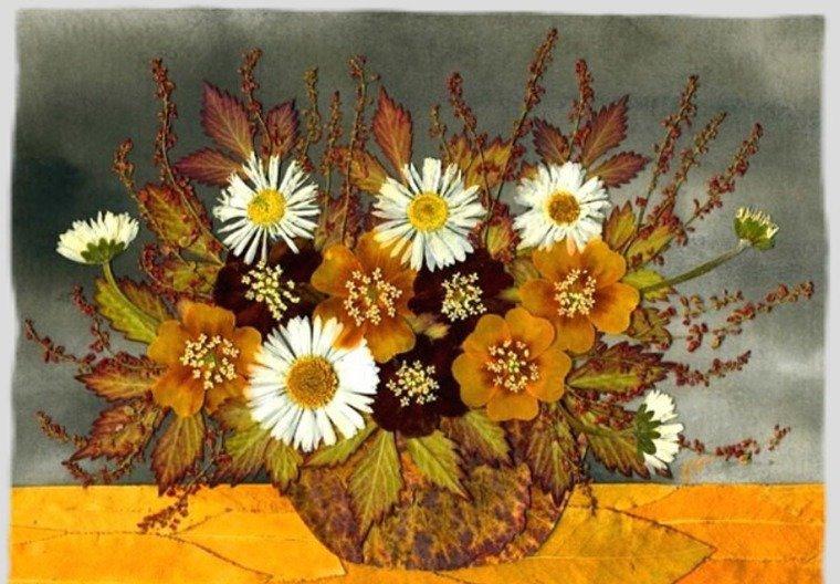 Осенние поделки своими руками картины из листьев 38