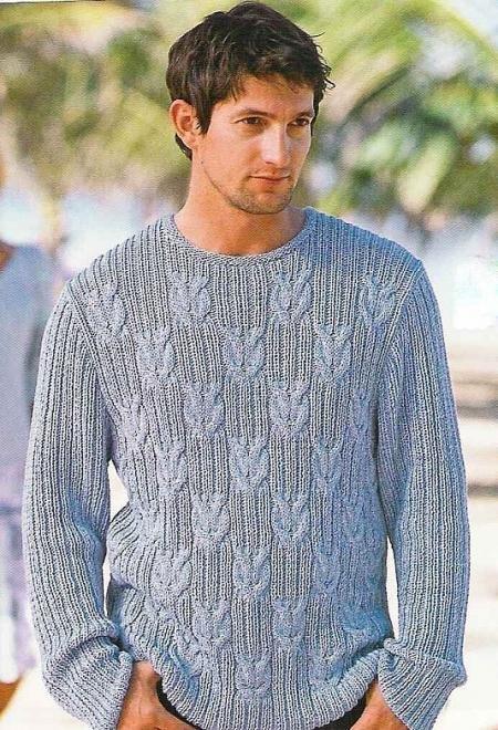 Вязание на спицах мужского пуловер 265