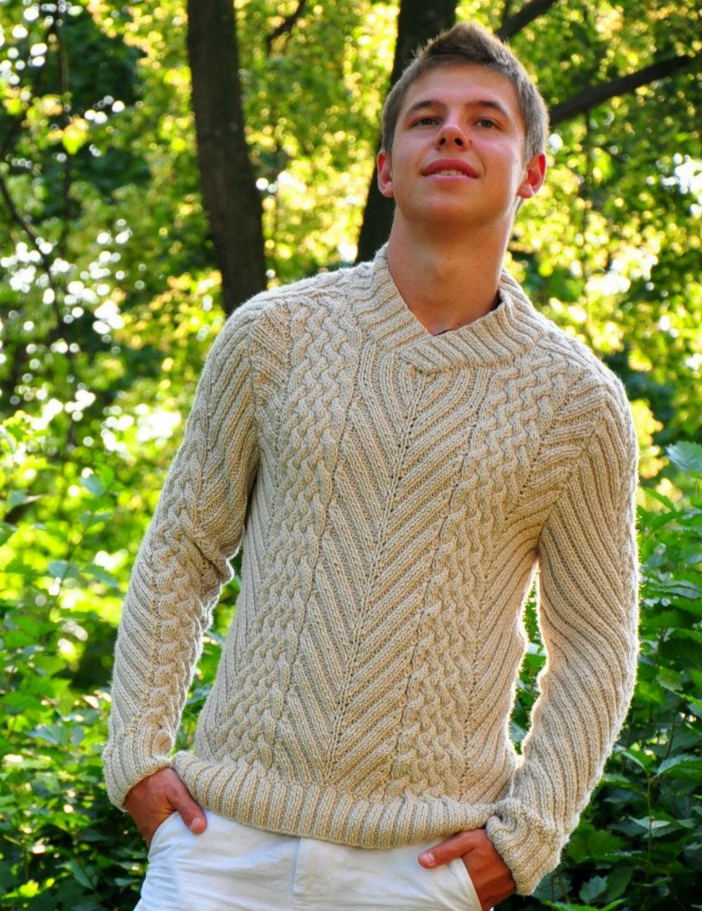 Мужской свитер своими руками связать 15