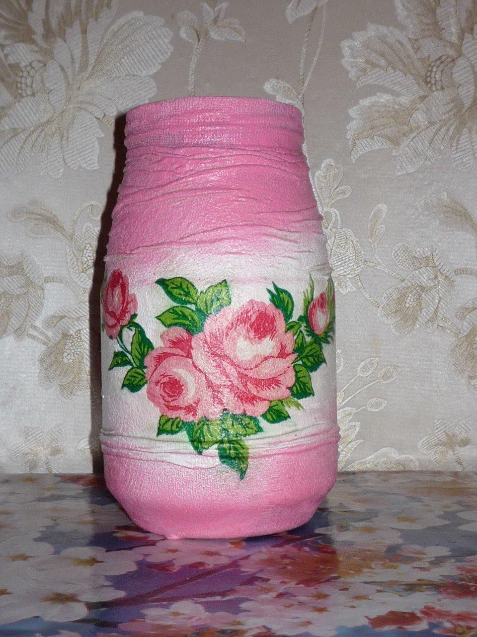 Как из банки сделать вазу фото
