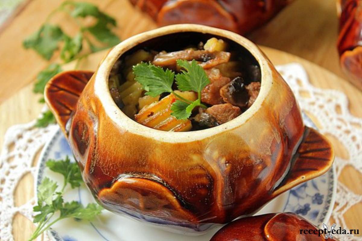 Курица с грибами и картошкой в горшочках в духовке рецепты пошагово