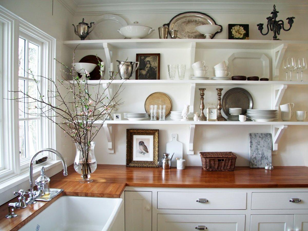 Открытые полки своими руками на кухню 8