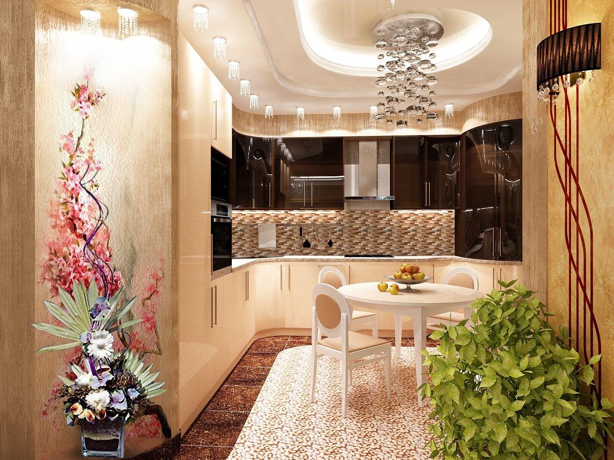 Дизайн кухни в стиле гламур