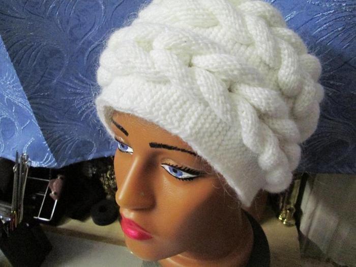 Вязание шапочки с косой 86
