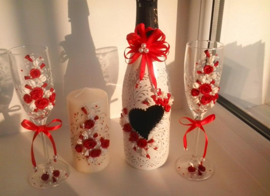 Украшаем бутылки и бокалы для свадьбы своими руками
