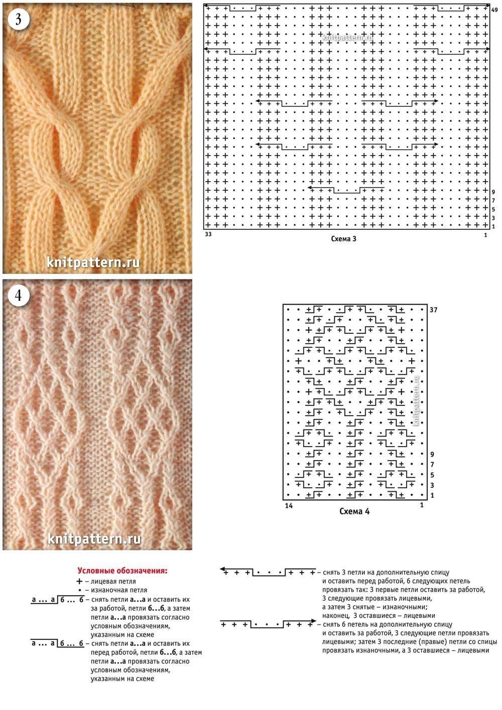Крупные узоры спицами, схемы и описание Салон 60