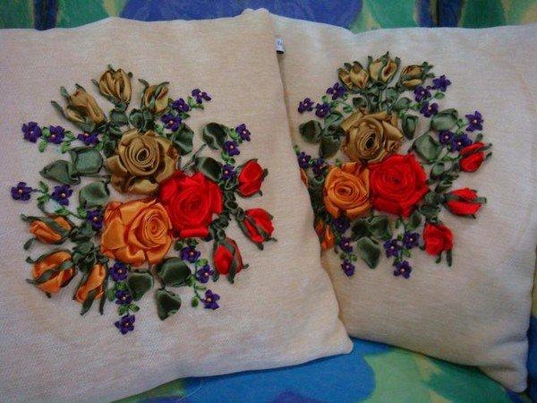 Вышивка атласными лентами декоративные подушки 57