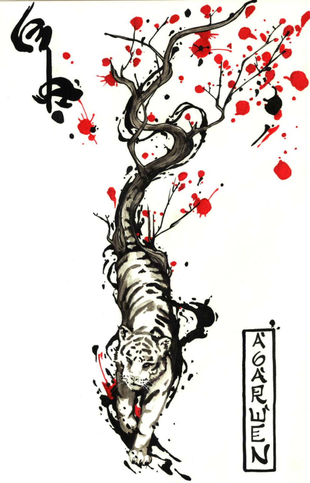 Тигр тату эскиз в японском стиле