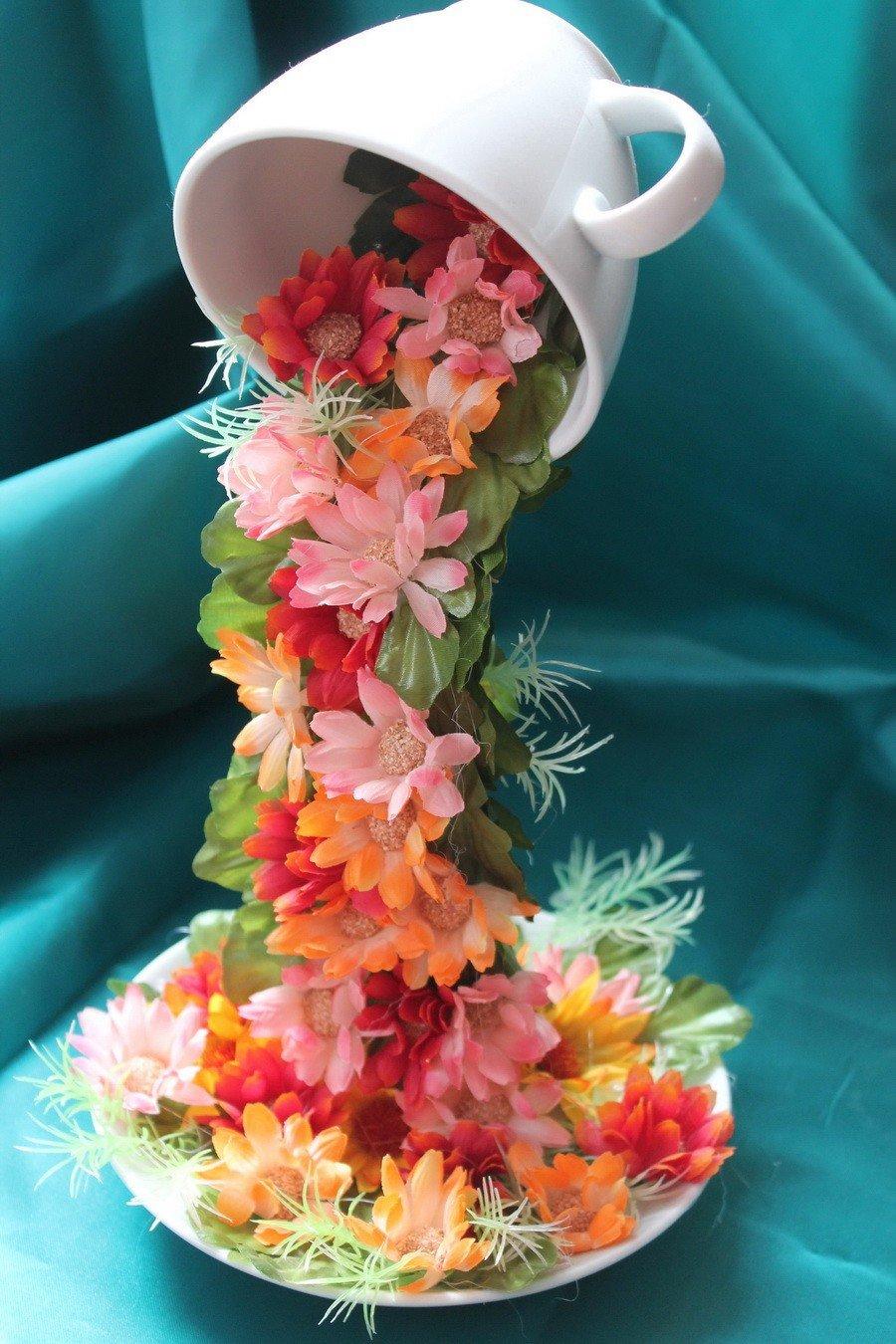 Поделки кружка с цветами фото