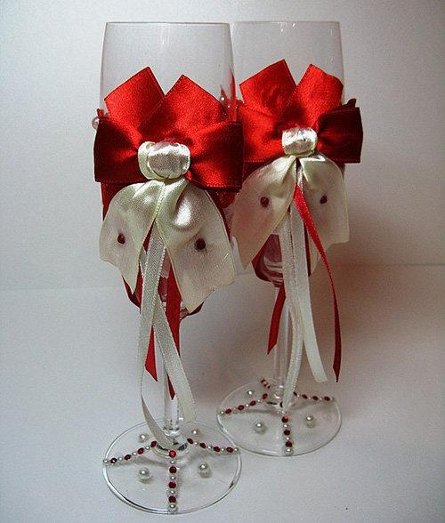 Как украсить свадебные бокалы лентами своими руками пошаговое фото