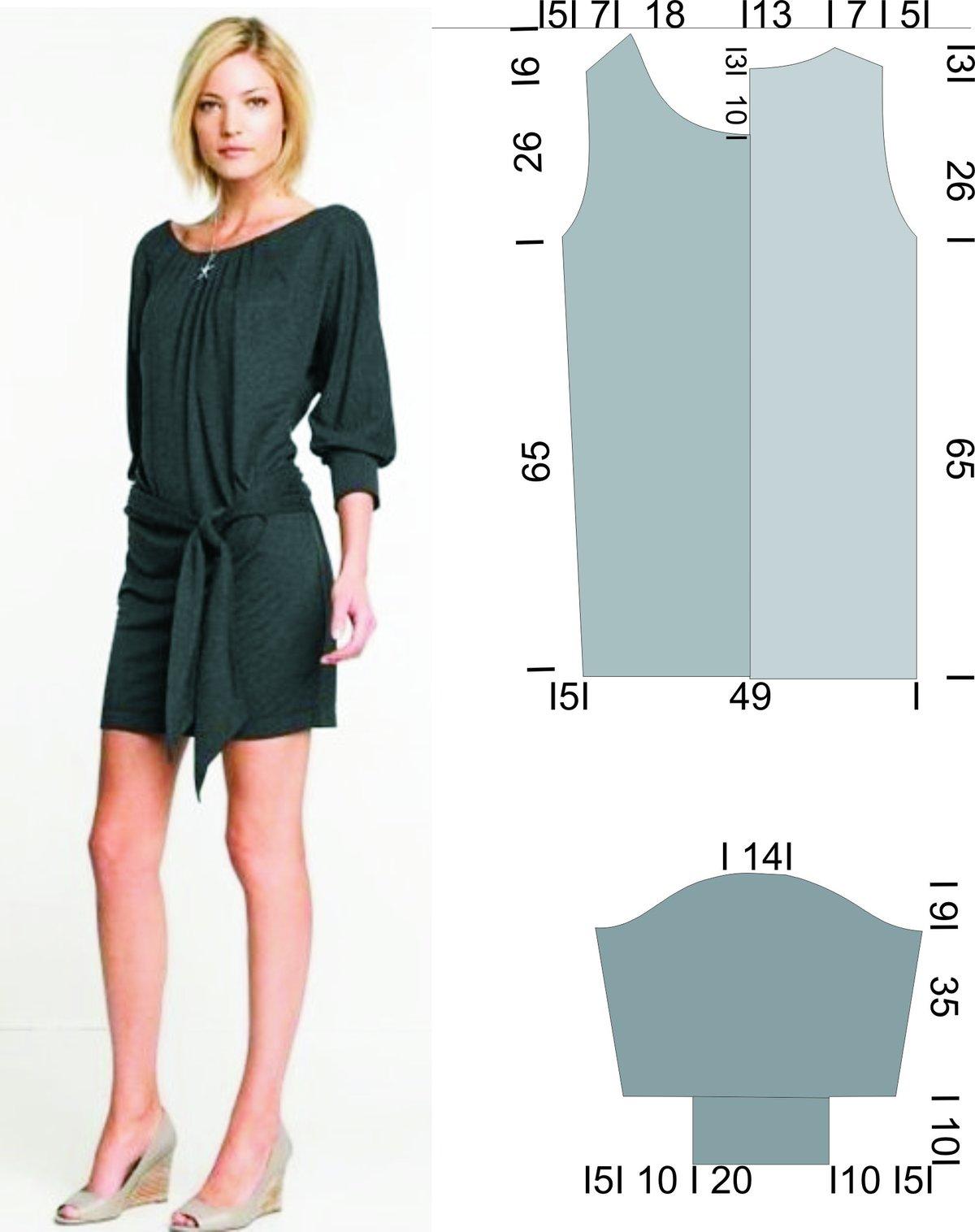 Сшить платье из трикотажа масло 44