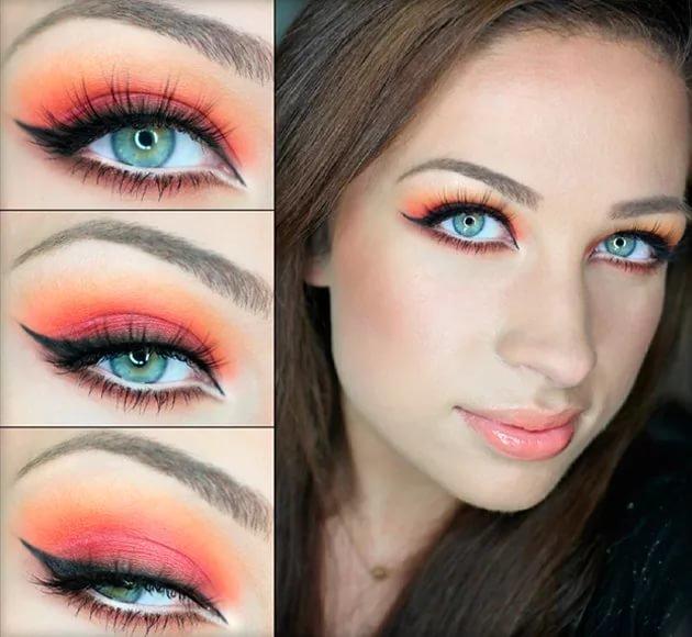 Как сделать в макияже яркие глаза 838