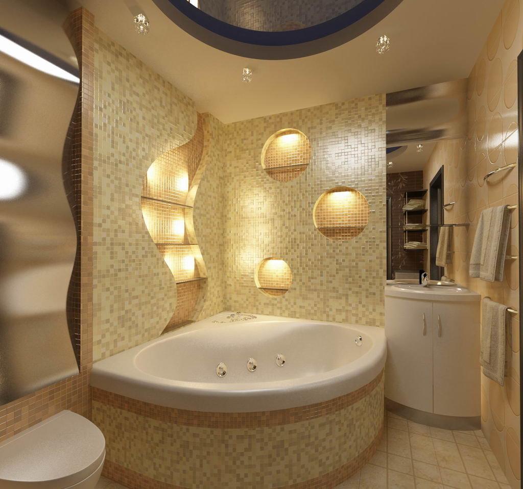 Дизайн угловой ванной комнаты 2018 современные идеи