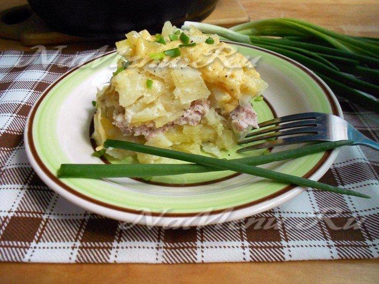 Мясо по французски с картофелем и фаршем пошаговый с