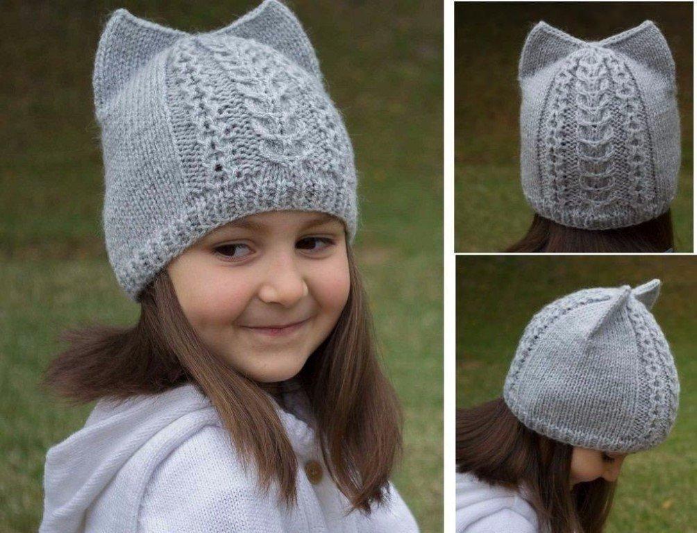 Вяжем спицами шапочку для девочки с ушками 94