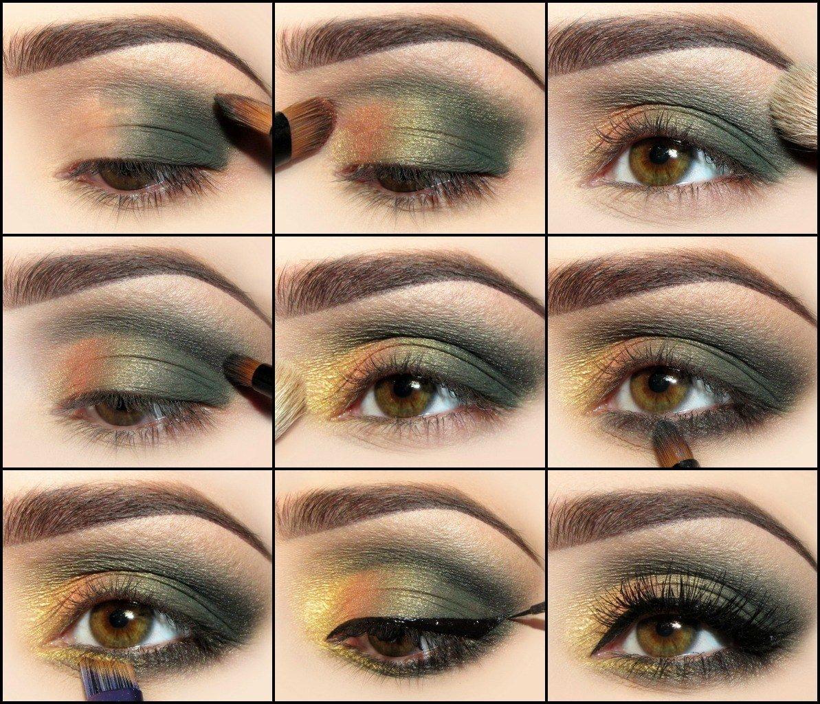 Зеленый макияж пошаговые фото