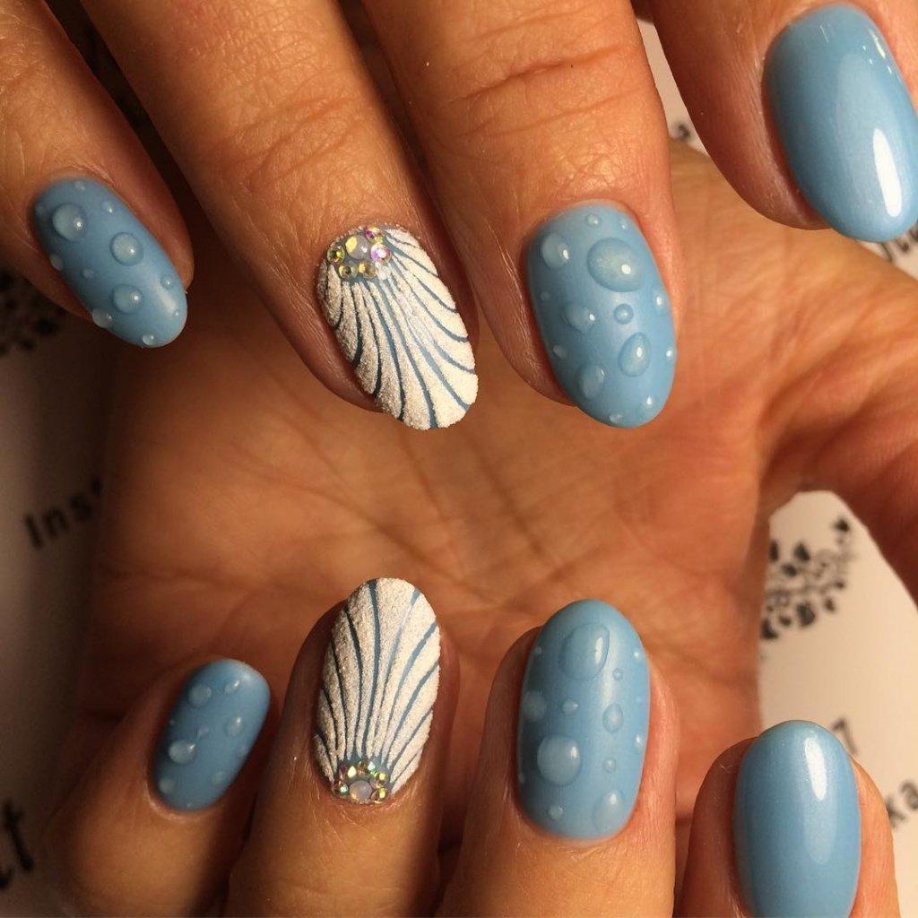 Морская тема дизайна для ногтей