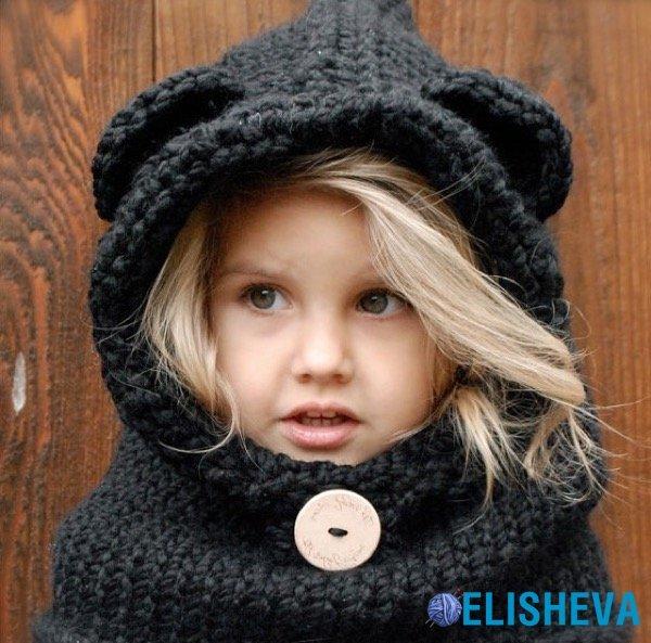 Вязание детской шапки-капор 34