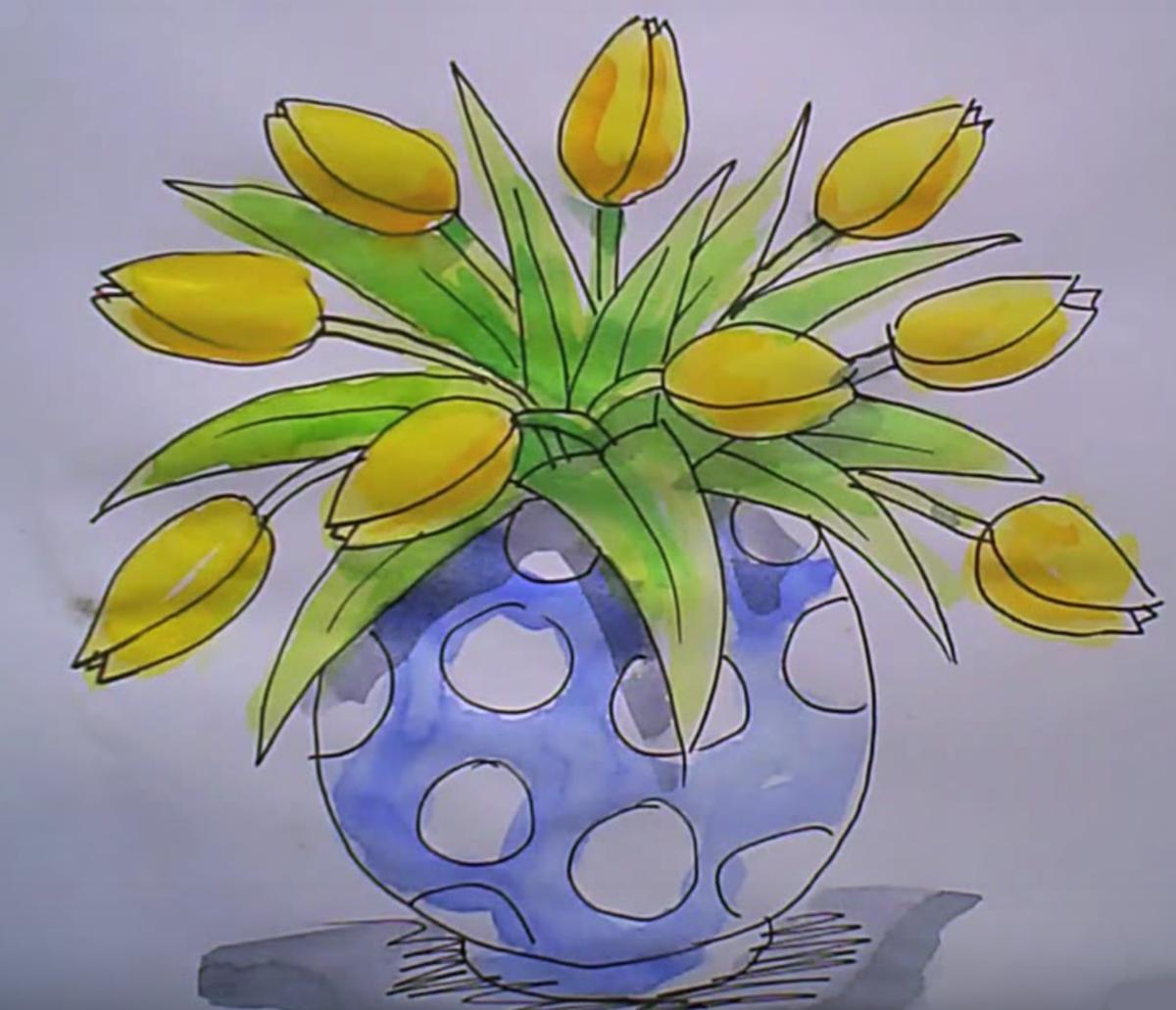 Рисунок цветы в вазе