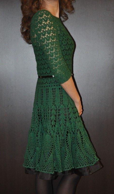 Вязание крючком зелёное платье 266