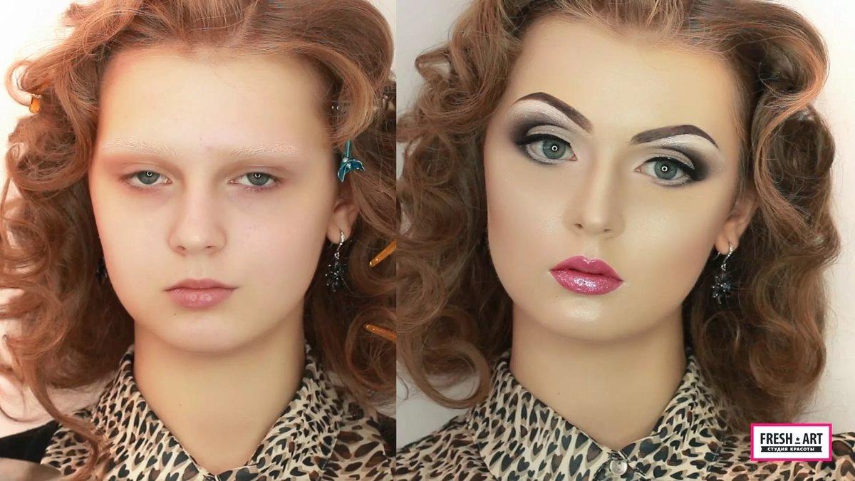 Сделать себе прическу и макияж на фото
