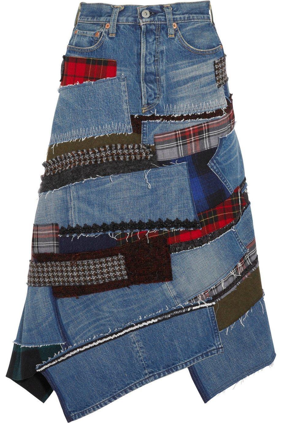 Короткая юбка из старых джинсов