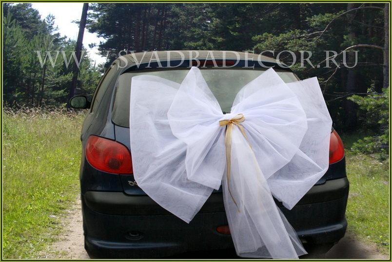 Как сшить бант на машину свадебную 37