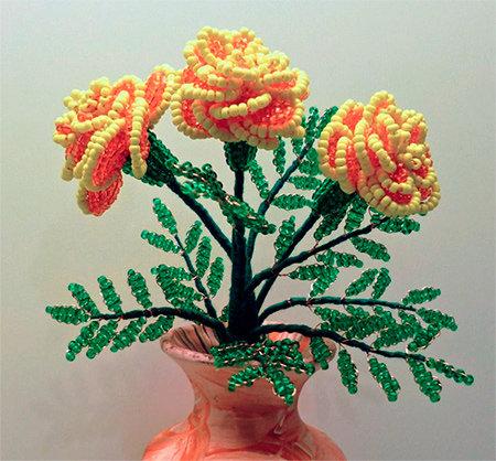 Цветы из бисера поделки из бисера