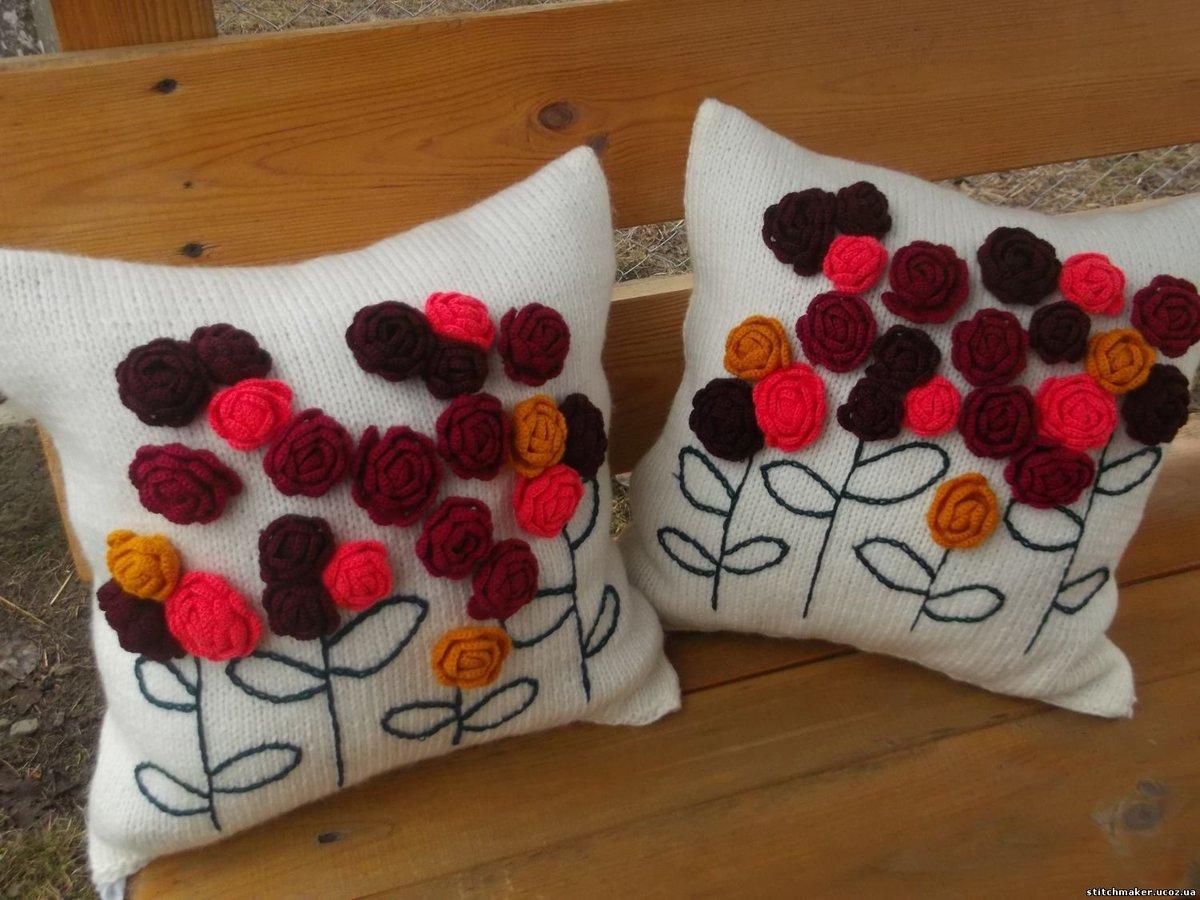 Вязаные диванные подушки своими руками